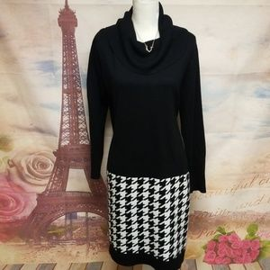 ➕ New Directions houndstooth pattern dress